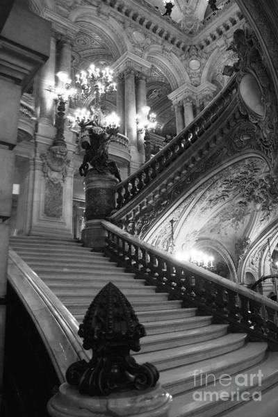Wall Art - Photograph - Paris Opera House Grand Staircase Black And White Art Nouveau - Paris Opera Des Garnier Staircase by Kathy Fornal
