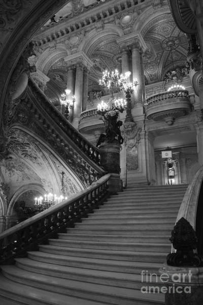 Palais Photograph - Paris Opera House Grand Staircase Black And White Art - Paris Black And White Opera House Staircase by Kathy Fornal
