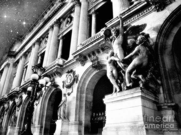Palais Photograph - Paris Opera House - Opera Des Garnier Architecture - Paris Black And White Opera House Art Deco by Kathy Fornal