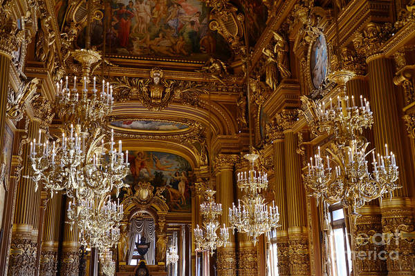 Chandelier Wall Art - Photograph - Paris Opera House Opulent Chandeliers - Paris Opera Garnier Chandelier Room - Crystal Chandeliers by Kathy Fornal