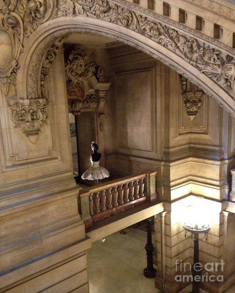 Palais Photograph - Paris Opera House Staircase Interior Architecture With Opera House Ballerina by Kathy Fornal