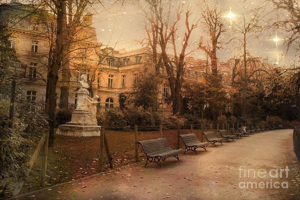 Park Bench Photograph - Paris Parc Monceau Gardens - Jocques Garnerin Parc Monceau Sunset Starlit Park And Garden Sculpture  by Kathy Fornal