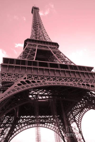 La Tour Eiffel Photograph - Paris Photography - Eiffel Tower Baby Pink Pastel Photography - Eiffel Tower Architecture by Kathy Fornal