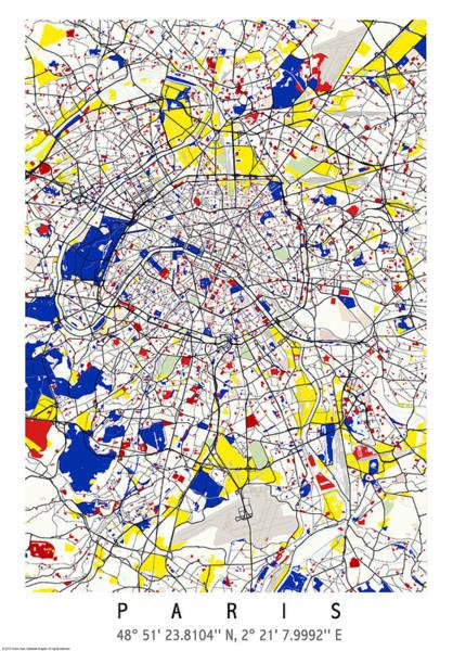 Digital Art - Paris Piet Mondrian Style City Street Map Art by Celestial Images