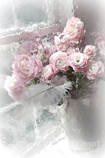 Romantic Flower Mixed Media - Paris Pink Impressionistic French Roses And Ranunculus - Shabby Chic Romantic Pink Flowers by Kathy Fornal