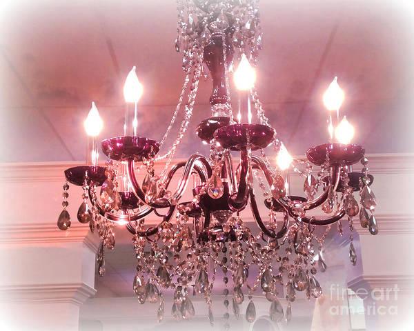 Chandelier Photograph - Paris Pink Romantic Chandelier - Sparkling Crystal Elegant Pink Chandelier Art  by Kathy Fornal