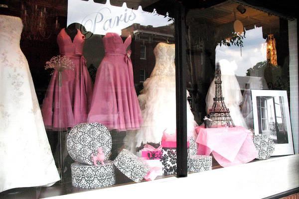 Window Shopping Photograph - Paris Pink White Bridal Dress Shop Window Paris Decor by Kathy Fornal