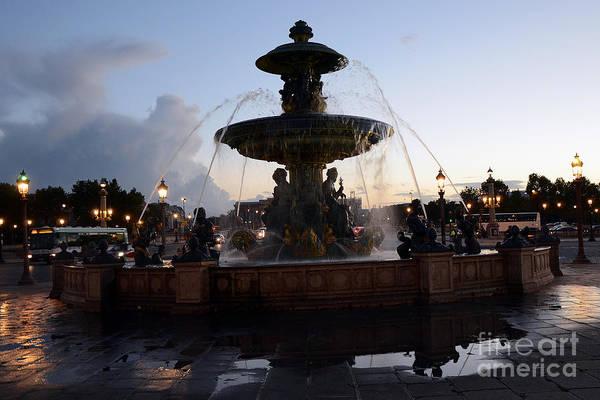 Concorde Photograph - Paris Place De La Concorde Fountain - Paris Dreamy Night Fountain - Place De La Concorde Night Photo by Kathy Fornal