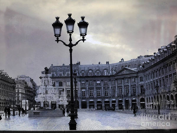 Shopping Districts Wall Art - Photograph - Paris Place Vendome Blue Street Lanterns Lamps And Architecture - Paris Dreamy Blue Photos by Kathy Fornal