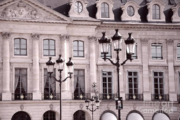 Shopping Districts Wall Art - Photograph - Paris Place Vendome Pink And Black Architecture - Paris Pink Black Street Lanterns Architecture  by Kathy Fornal