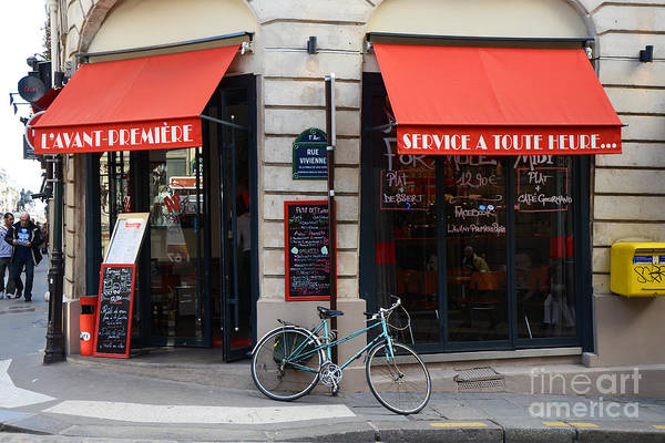 Sidewalk Cafe Photograph - Paris Red Canopies And Bicycle Street Photography - Paris In Red Street Corner Photography  by Kathy Fornal