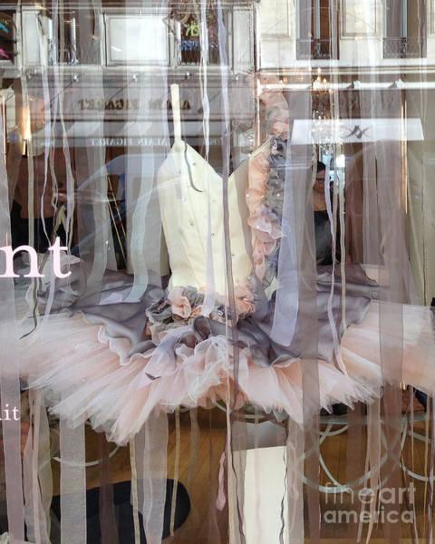 Wall Art - Photograph - Paris Repetto Ballerina Pink Cream Gray Tutu In Window - Paris Ballerina Dress In Window by Kathy Fornal
