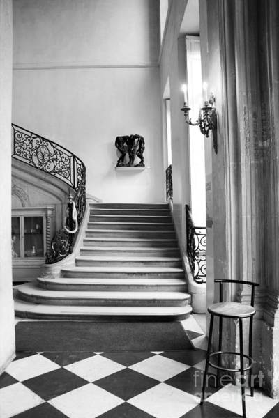 Wall Art - Photograph - Paris Rodin Museum Black And White Fine Art Architecture - Rodin Museum Entry Staircase by Kathy Fornal