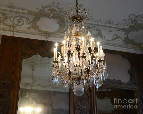Wall Art - Photograph - Paris Rodin Museum Crystal Chandelier - Rodin House Chandelier Mirrored Reflection by Kathy Fornal