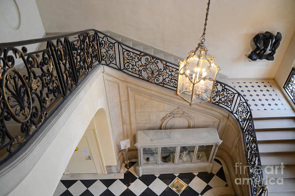 Wall Art - Photograph - Paris Rodin Museum Staircase - Musee Rodin Staircase Chandelier Architecture - Rodin Museum Stairs by Kathy Fornal