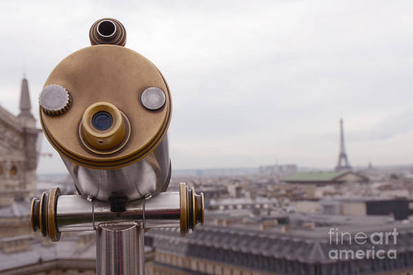 Paris Rooftop Photograph - Paris Rooftops Telescope View Of Eiffel Tower - Paris Telescope Rooftop Eiffel Tower View by Kathy Fornal