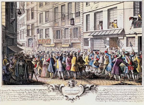 Capitalism Wall Art - Photograph - Paris. Rue Quinquempoix, 1720. Scene by Everett