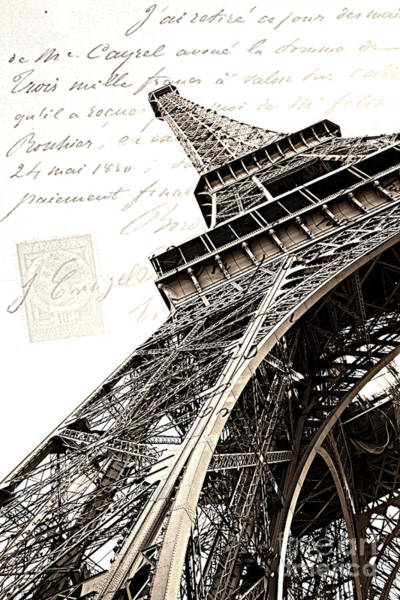 Wall Art - Photograph - Paris Sepia Vintage Eiffel Tower With French Script Lettering - Letters From Paris  by Kathy Fornal
