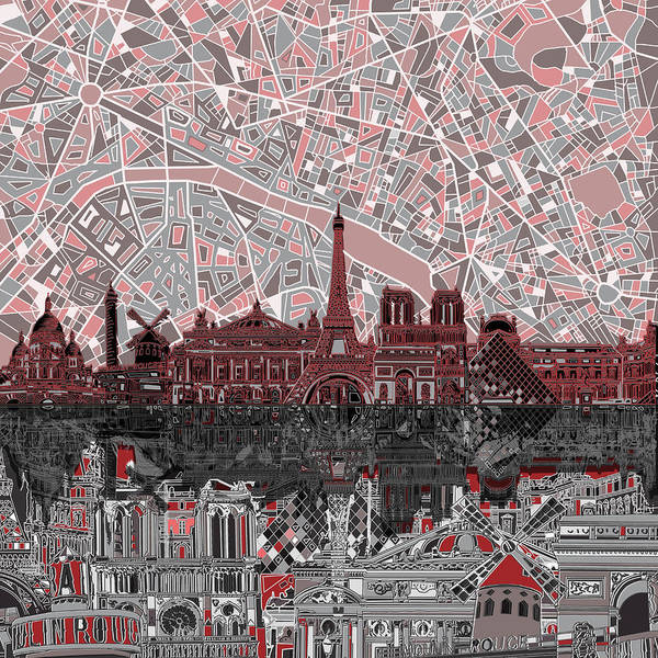 Notre Dame Painting - Paris Skyline Abstract 2 by Bekim M