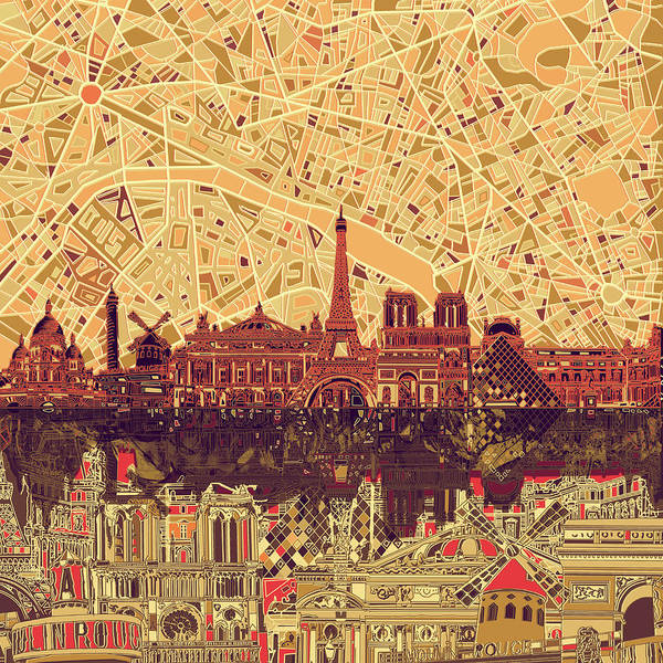 Notre Dame Painting - Paris Skyline Abstract Sepia by Bekim M