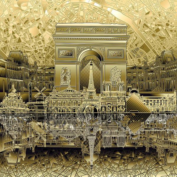 Notre Dame Painting - Paris Skyline Landmarks 4 by Bekim M