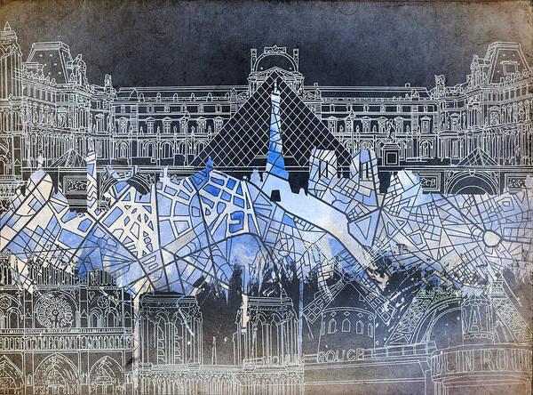 Notre Dame Painting - Paris Skyline Vintage by Bekim M
