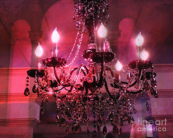 Chandelier Photograph - Paris Sparkling Crystal Chandelier - Chandelier Art Deco Purple Pink Red Art Deco by Kathy Fornal