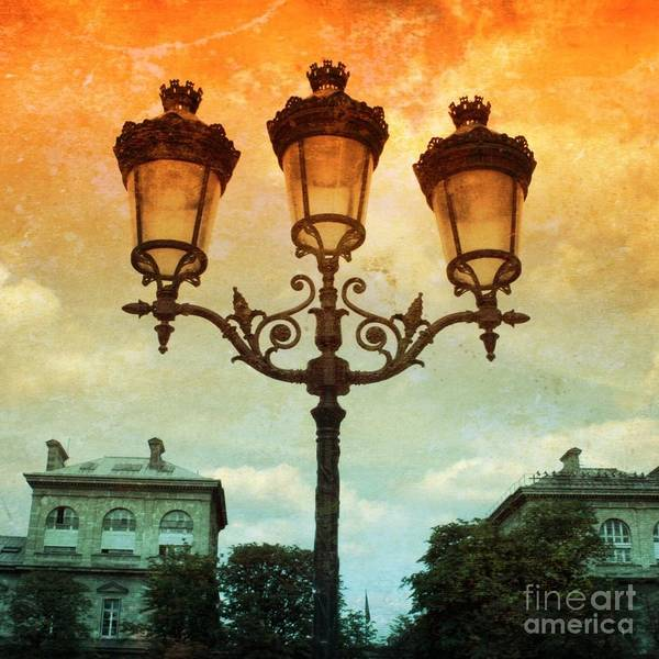 Photograph - Paris Street Lamps With Textures And Colors by Carol Groenen