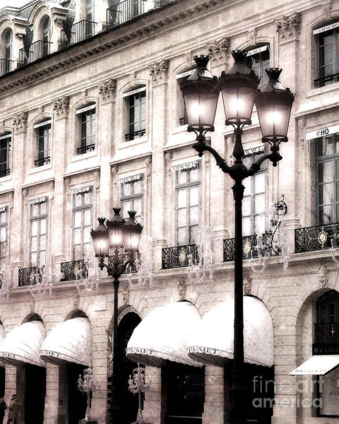 Shopping Districts Wall Art - Photograph - Paris Street Lanterns - Hotel Chaumet  Architecture Street Lamps - Paris Buildings Lanterns by Kathy Fornal