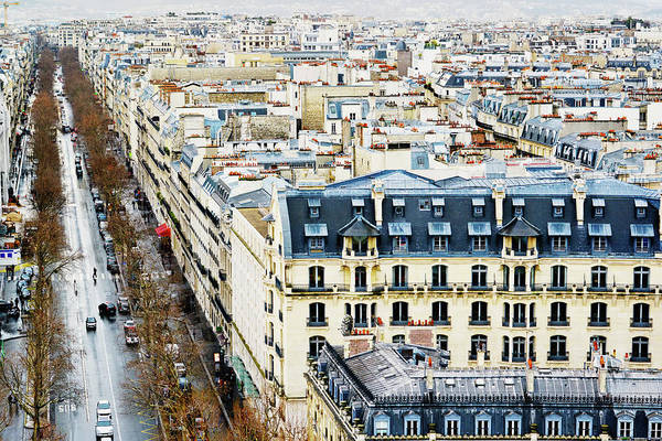 Paris Rooftop Photograph - Paris Street, View From Above by Anouchka
