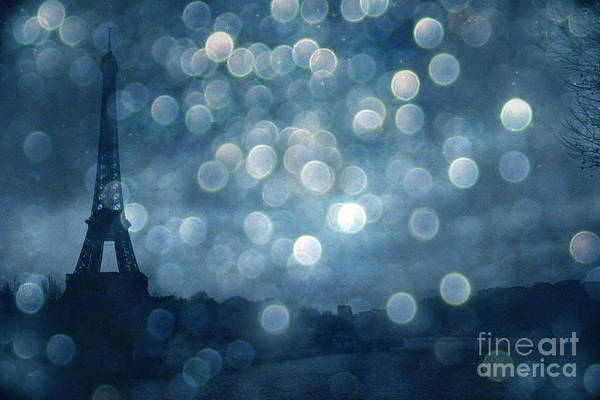 Starry Night Wall Art - Photograph - Paris Surreal Eiffel Tower Sapphire Blue Starry Night - Eiffel Tower Blue Stars Bokeh Night Sky  by Kathy Fornal