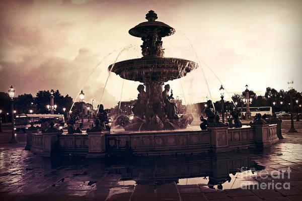 Concorde Photograph - Paris Surreal Place De La Concorde Fountain - Paris Sunset Sepia Night Lights Fountain Square by Kathy Fornal