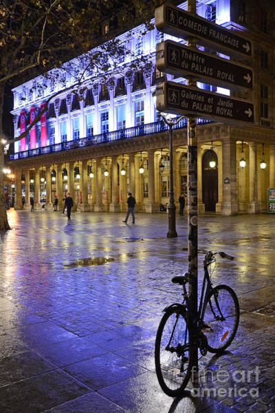 Palais Photograph - Paris Surreal Rainy Night Scene With Bicycle - Palais Royal Theatre District Rainy Night And Bicycle by Kathy Fornal