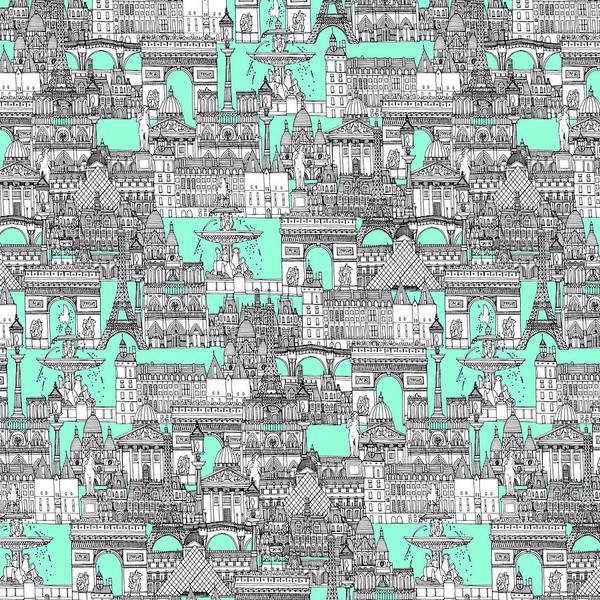 Wall Art - Drawing - Paris Toile Aquamarine by MGL Meiklejohn Graphics Licensing