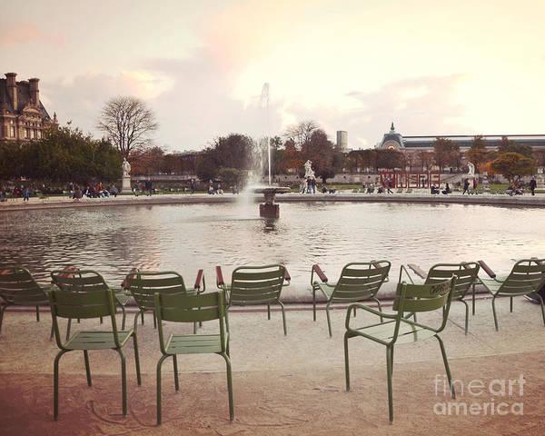 Jardin Des Tuileries Photograph - Paris Tuileries Garden Park Fountain Green Chairs - Paris Autumn Fall Tuileries - Autumn In Paris by Kathy Fornal