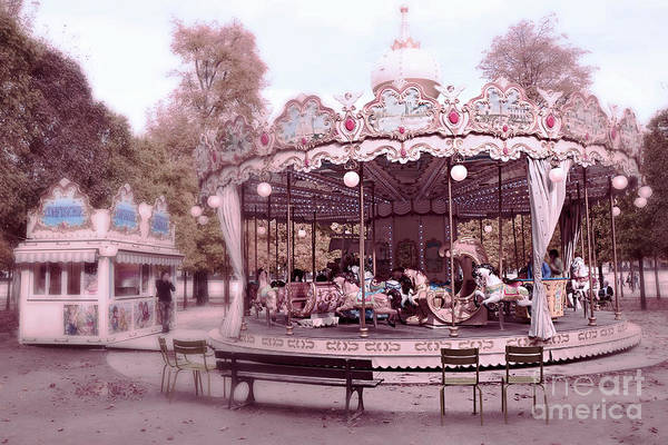 Carousel Horse Photograph - Paris Tuileries Park Carousel - Paris Pink Carousel Horses - Paris Merry-go-round Carousel Art by Kathy Fornal