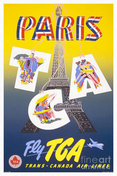 Brochure Drawing - Paris Vintage Travel Poster by Jon Neidert