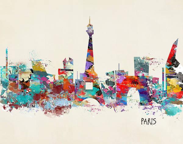 Wall Art - Painting - Paris Watercolor Skyline by Bri Buckley
