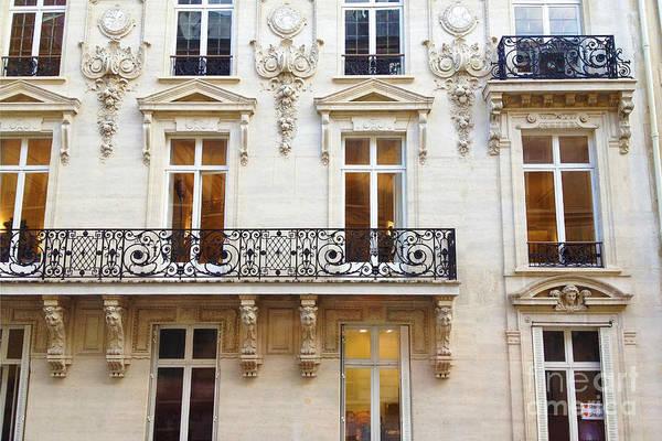 Wall Art - Photograph - Paris Windows And Balconies - Winter White And Black Paris Windows Building Architecture Art Nouveau by Kathy Fornal