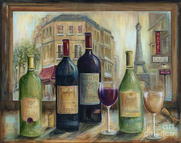 Wall Art - Painting - Paris Wine Tasting With A View by Marilyn Dunlap