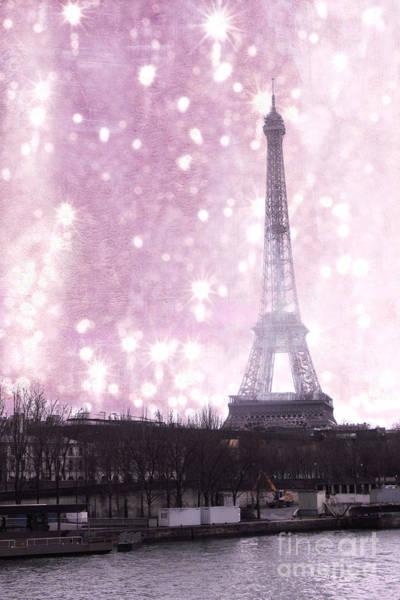 La Tour Eiffel Photograph - Paris Winter Eiffel Tower - Dreamy Surreal Paris In Pink Eiffel Tower Snow Winter Landscape by Kathy Fornal