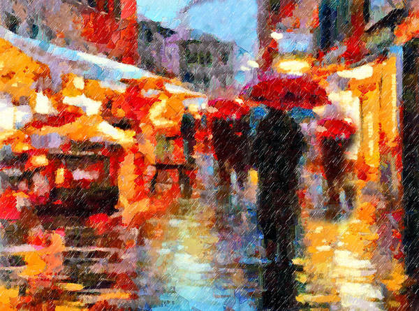 Parisian Rain Walk Abstract Realism Art Print