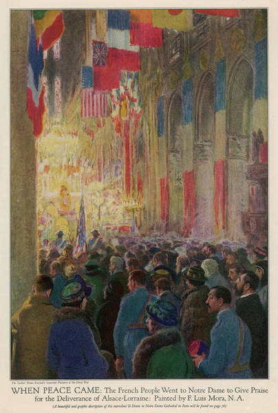 Notre Dame Drawing - Parisians Flock Into Notre- Dame by Mary Evans Picture Library