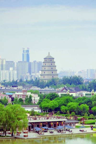 Xi Photograph - Park And Skyline Of Xian City by Pan Hong
