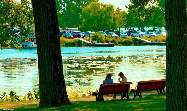 Painting - Park Bench Conversation Shoreline Lachine Canal Quebec Art Montreal Scenes Carole Spandau by Carole Spandau
