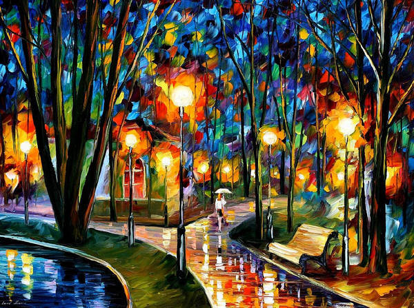 Leonid Wall Art - Painting - Park By The Lake - Palette Knife Oil Painting On Canvas By Leonid Afremov by Leonid Afremov
