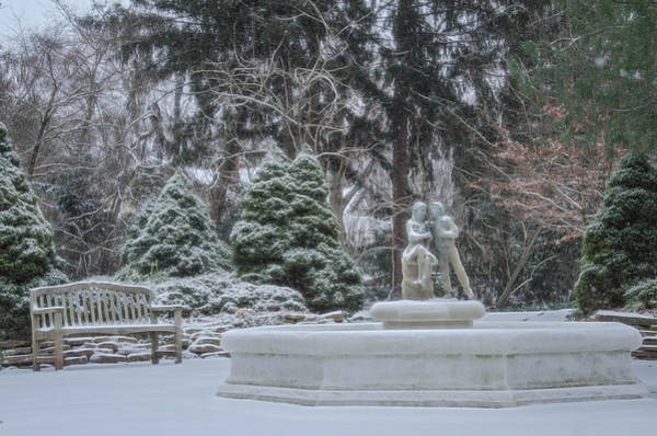 Photograph - Park Fountain During Winter Snowfall At Sayen Gardens by Beth Sawickie