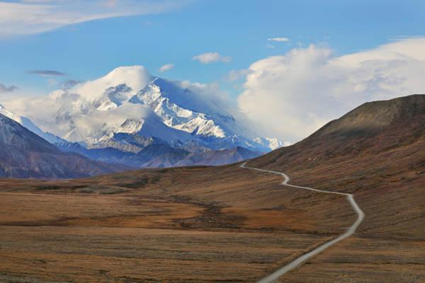 Park Road In Autumn Landscape Leading Toward Mount Denali Art Print by Rainer Grosskopf