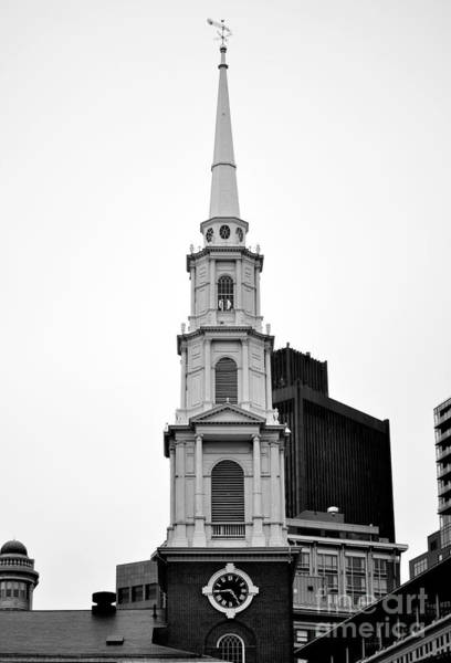 Photograph - Park Street Church Boston Black And White by Staci Bigelow