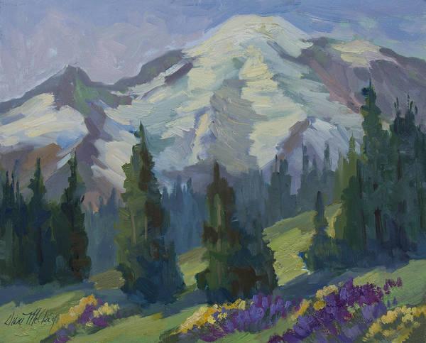 Mount Rainier Painting - Park Sunrise At Mount Rainier by Diane McClary